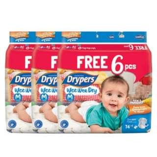 Drypers Wee Wee Dry M / L / XL / XXL Carton Sale