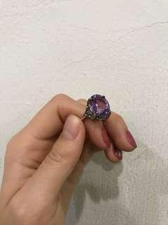 🚚 紫水晶925銀k戒