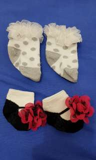 Take all: 2 Pairs of Adorable Baby Girl Socks (3-6 mos)