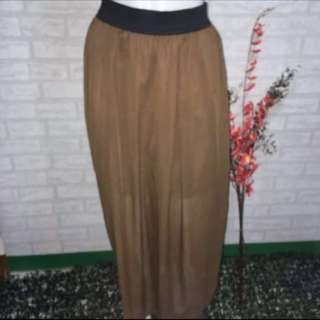 BROWN CHIFFON MAXI SKIRT