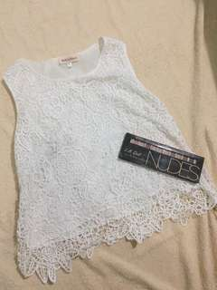 White top flower embroidery