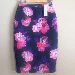 Paint It Red Floral Scuba Midi Skirt