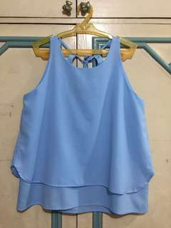 ForMe Blue sleeveless top with back details