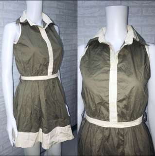 ARMY GREEN COLLAR DRESS
