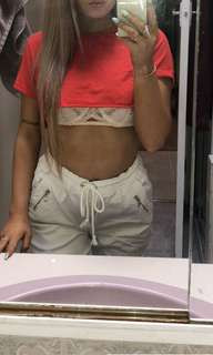 short red glassons crop tee