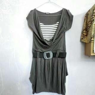 Striped Dress - Grey