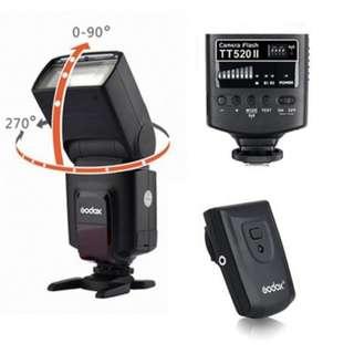 Godox TT520 II GN33 Flash Light Speedlite For Canon Nikon Pentax All DSLR Camera