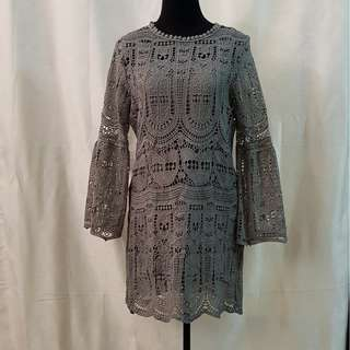 Korean Fashion Gray Eyelet Bellsleeved Dress