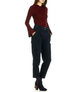 Burgundy Red Flare Sleeves Sweater