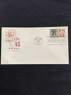 US 1961 13c Liberty Bell Air Mail Stamp FDC
