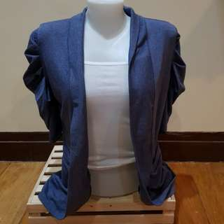 Blue cardigan with sleeve details