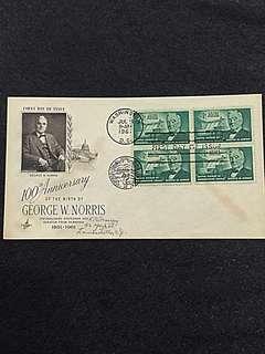 US 1961 Senator George Norris Blk4 FDC Stamp