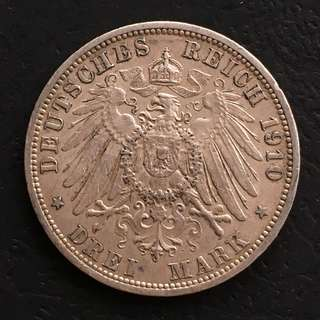 Germany Prussia 1910-A 3 Mark Silver Coin