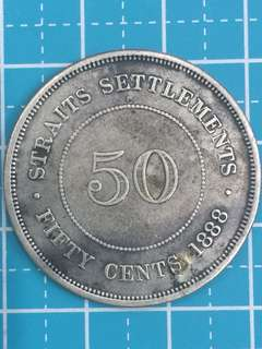 🔥Clearance🔥Straits Settlements QV Silver Coin 50 Cent Year 1888 ( Refilled)
