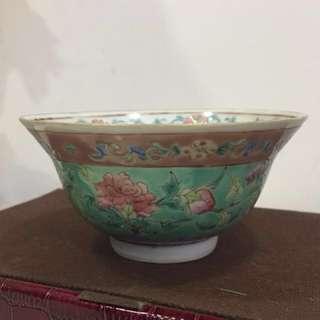 Rare Peranakan bowl with green enamel