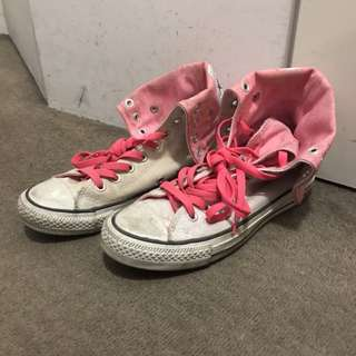 Converse Neon Pink White Folded High Tops