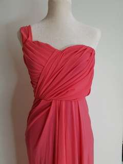 One-sided Draped Gown in Bright Pink