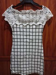 Lace-filled Black & White Dress