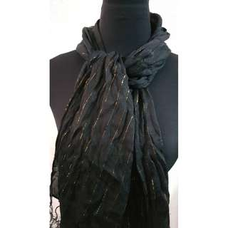 Black Scarf with fringe details