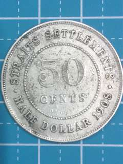 🔥Clearance🔥Straits Settlements KE VII 50 Cent Year 1908