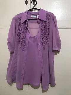 Worthington Purple Blouse with inner spaghetti strap