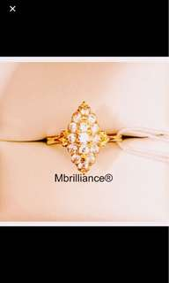 Marquise design Cz stones ring 22k / 916 solid gold Mbrilliance®