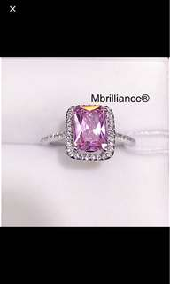 Natural pink sapphire 18k white gold ring engagement / Wedding ring by Mbrilliance