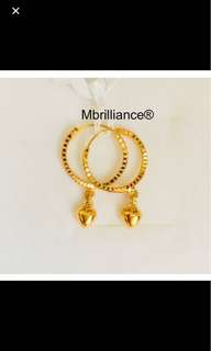 Hearts dangling earrings  916 Gold by Mbrilliance