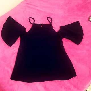 Off shoulder blouse (navy blue)
