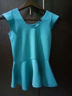 Turquoise Peplum Top