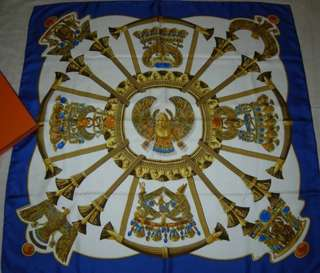"""Authentic HERMES 100% Silk Scarf """"Egypte"""" by Caty 34.6"""" in Box - Excellent condition"""