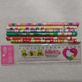 Hello Kitty ruler and pencils