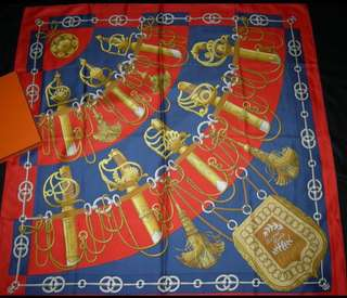 """Authentic HERMES 100% Silk Scarf """"Cliquetis"""" 35"""" in Box - Excellent condition!"""