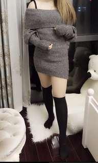 🚚 灰色露肩洋裝