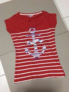 Red shirt Anchor design print