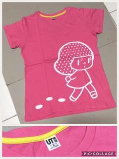 Pink tee with strawberry girl print