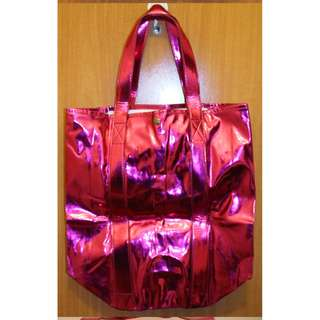 MNG 大手提袋 手袋 環保袋 大袋 旅行袋 閃桃紅色