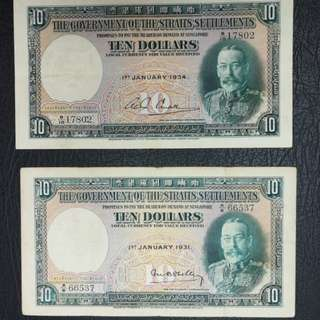 Straits settlements $10 1931 (gvf) and 1934( abt EF) original no cleaning or washing .selling as pair