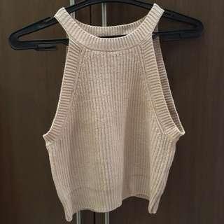 Blush Knitted Halter Crop Top