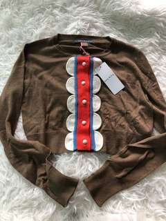 New Orla Kiely Brown Cropped Cardigan sz s