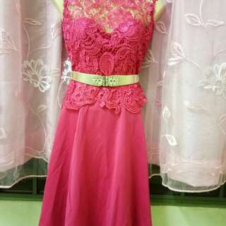 Pink Lace Dinner Dress