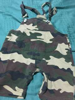Army print baby overall romper