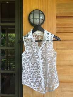 Embroidered see-through sleeveless top