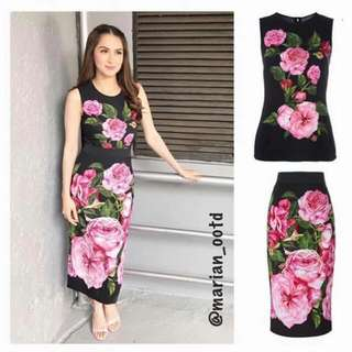 Top+skirt floral terno