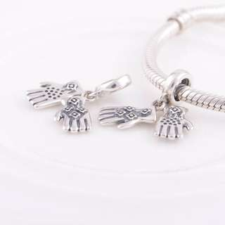 Code MS89 - Two Gloves 100% 925 Sterling Silver Charm, Chain Is Not Included, Compatible With Pandora