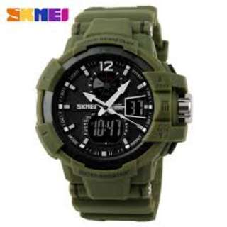 SKMEI AD1040 ARMY GREEN RUBBER STRAP WATCH FOR MEN - COD FREE SHIPPING