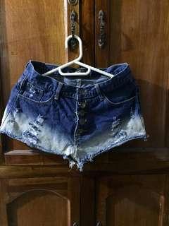 High waist ombre denim shorts