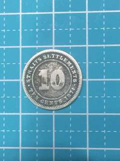 🔥Clearance🔥Straits Settlements QV Silver Coin 10 Cent Year 1874H Scarce