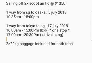 2x scoot air ticket for sale to japan