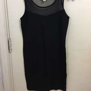 Black dress with mesh straps